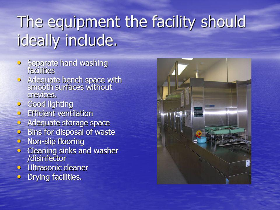 The equipment the facility should ideally include.