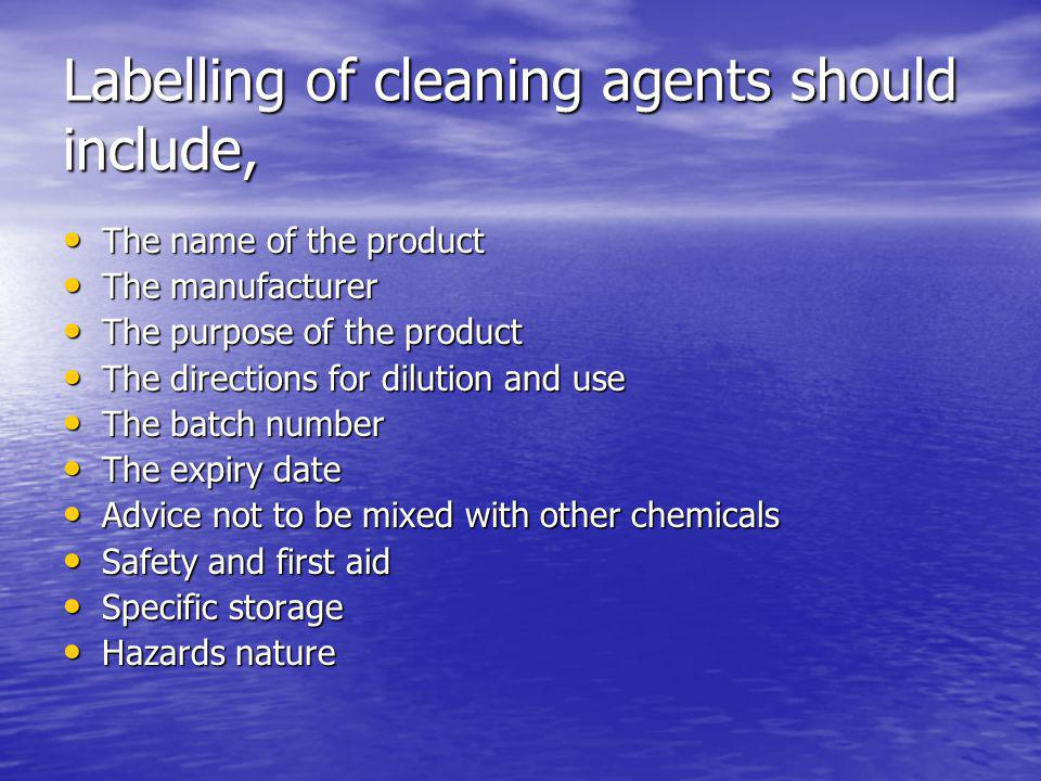 Labelling of cleaning agents should include,