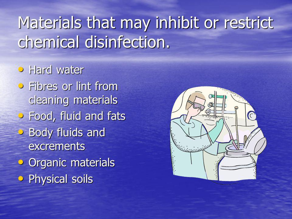 Materials that may inhibit or restrict chemical disinfection.