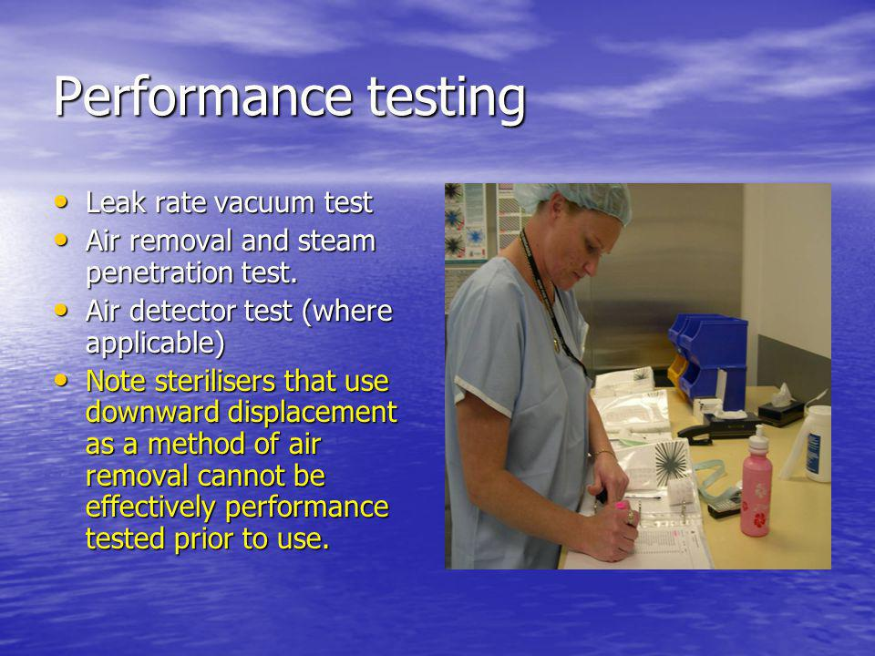 Performance testing Leak rate vacuum test