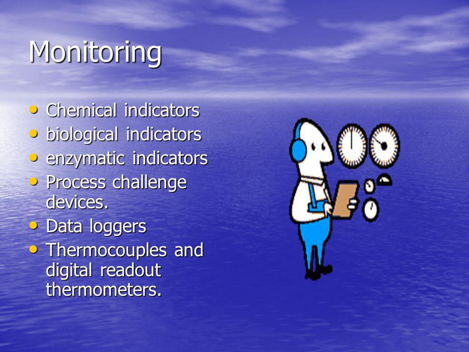 Monitoring Chemical indicators biological indicators