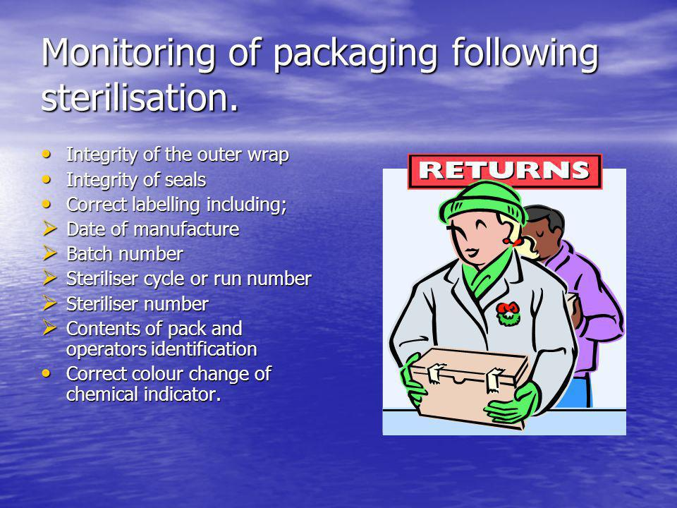Monitoring of packaging following sterilisation.