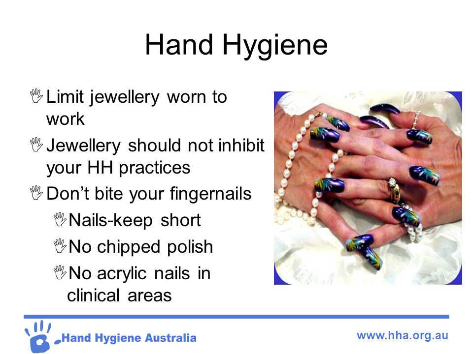 Hand Hygiene Limit jewellery worn to work