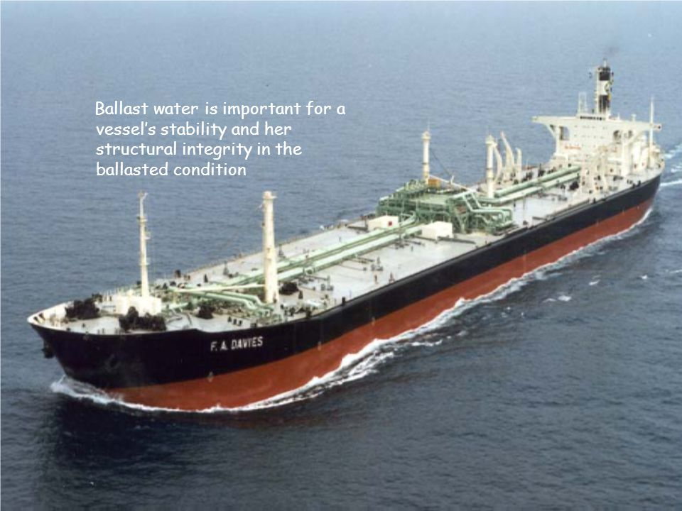 Ballast water is important for a vessel's stability and her structural integrity in the ballasted condition