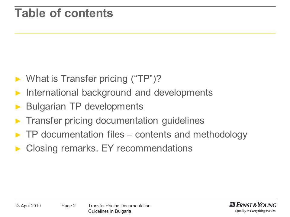 Table of contents What is Transfer pricing ( TP )