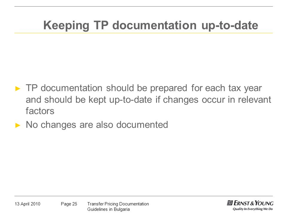 Keeping TP documentation up-to-date