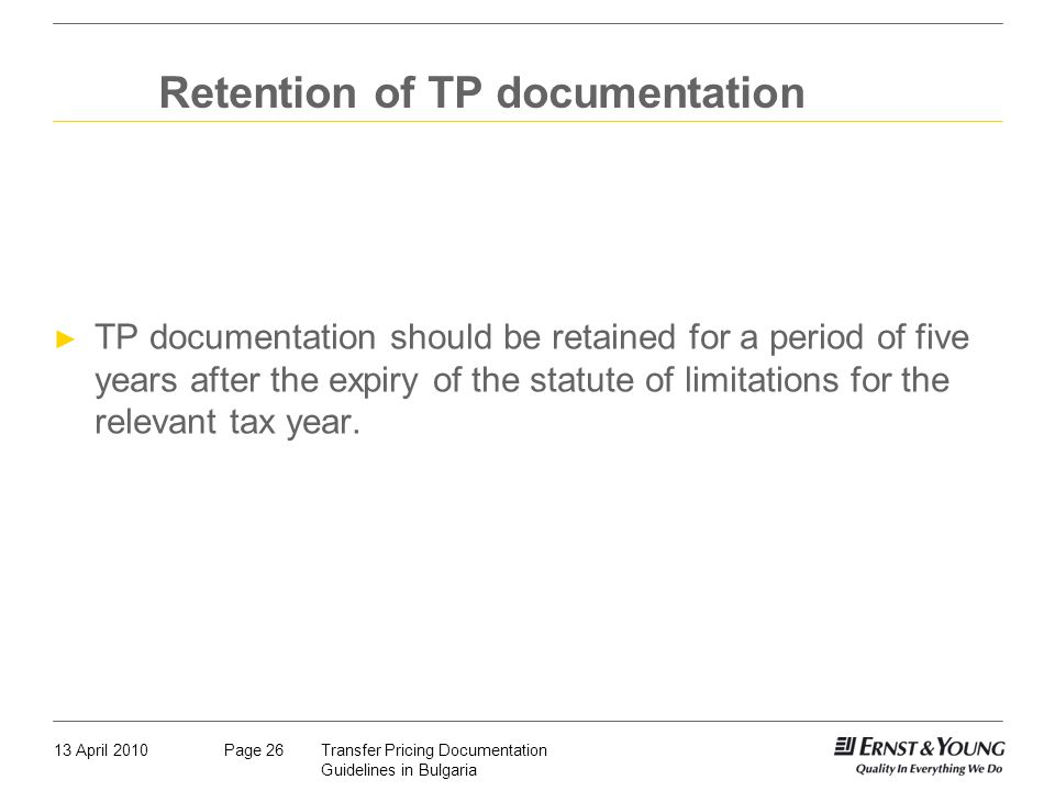 Retention of TP documentation