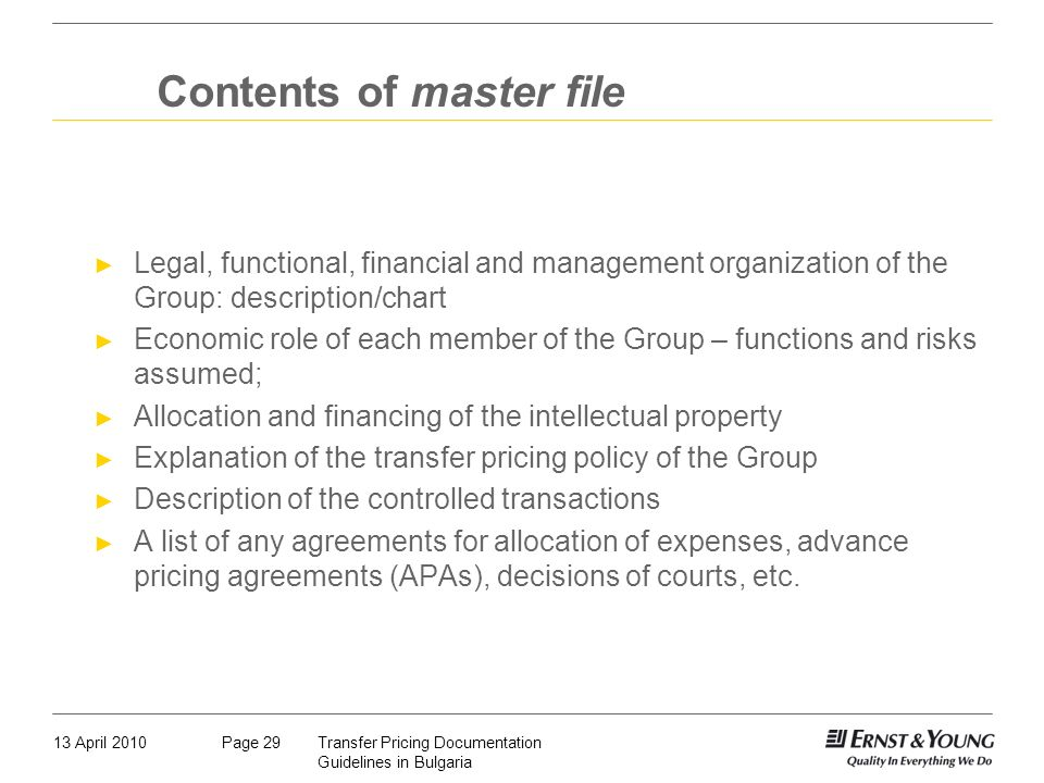 Contents of master file