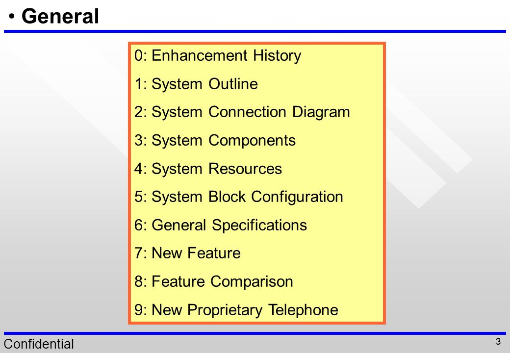 General 0: Enhancement History 1: System Outline