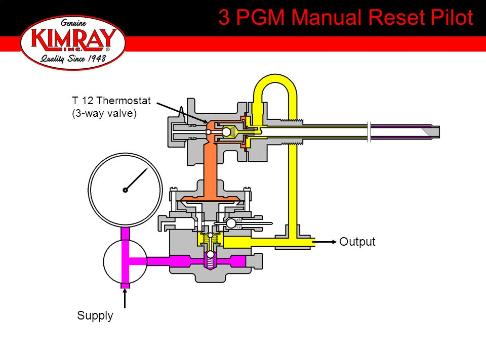 3 PGM Manual Reset Pilot T 12 Thermostat (3-way valve) Output Supply