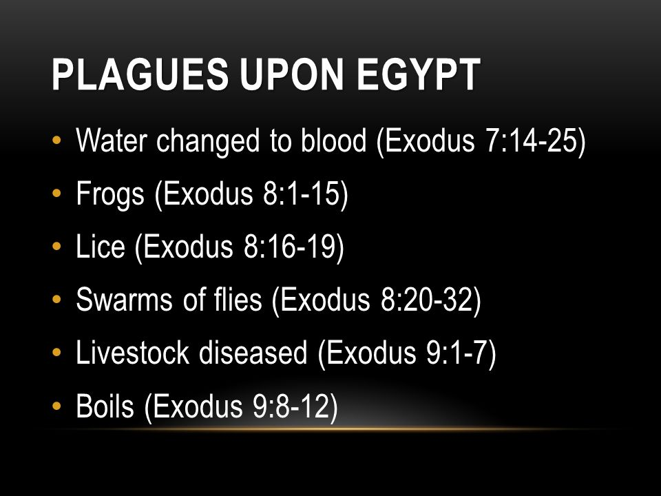 Plagues Upon Egypt Water changed to blood (Exodus 7:14-25)