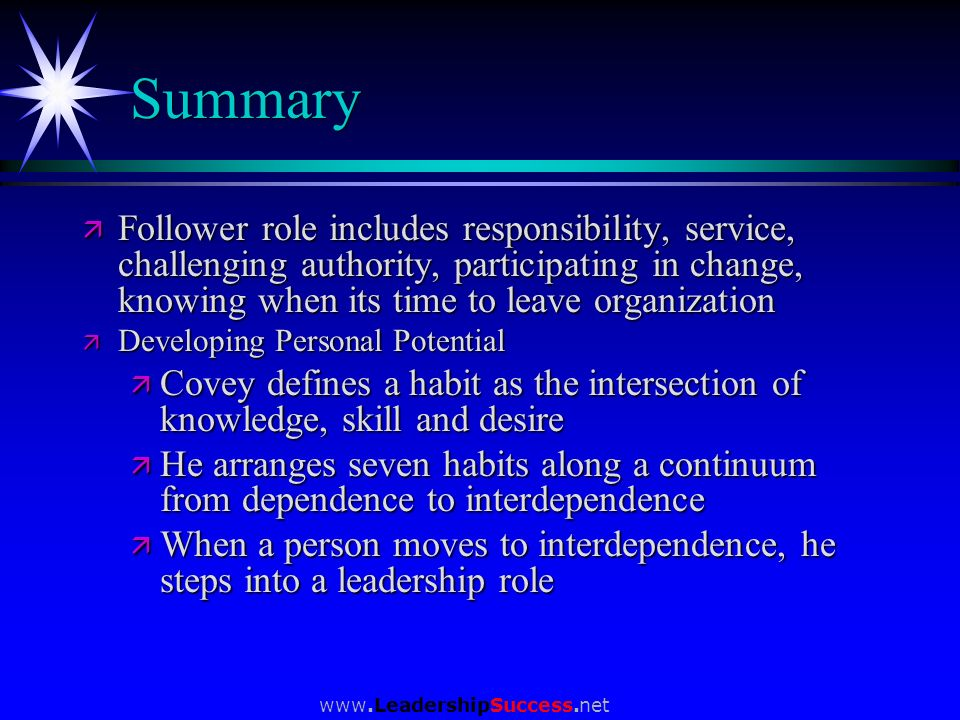 Summary Follower role includes responsibility, service, challenging authority, participating in change, knowing when its time to leave organization.