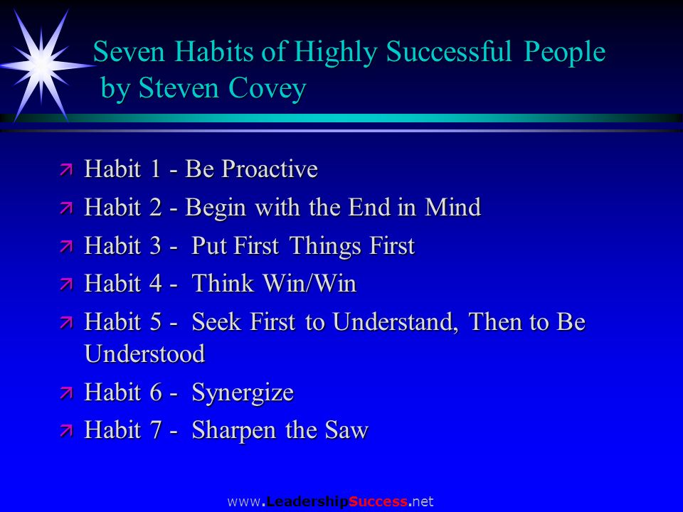 Seven Habits of Highly Successful People by Steven Covey