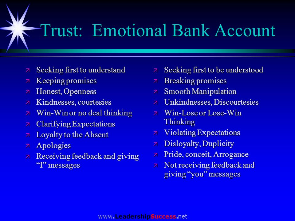 Trust: Emotional Bank Account