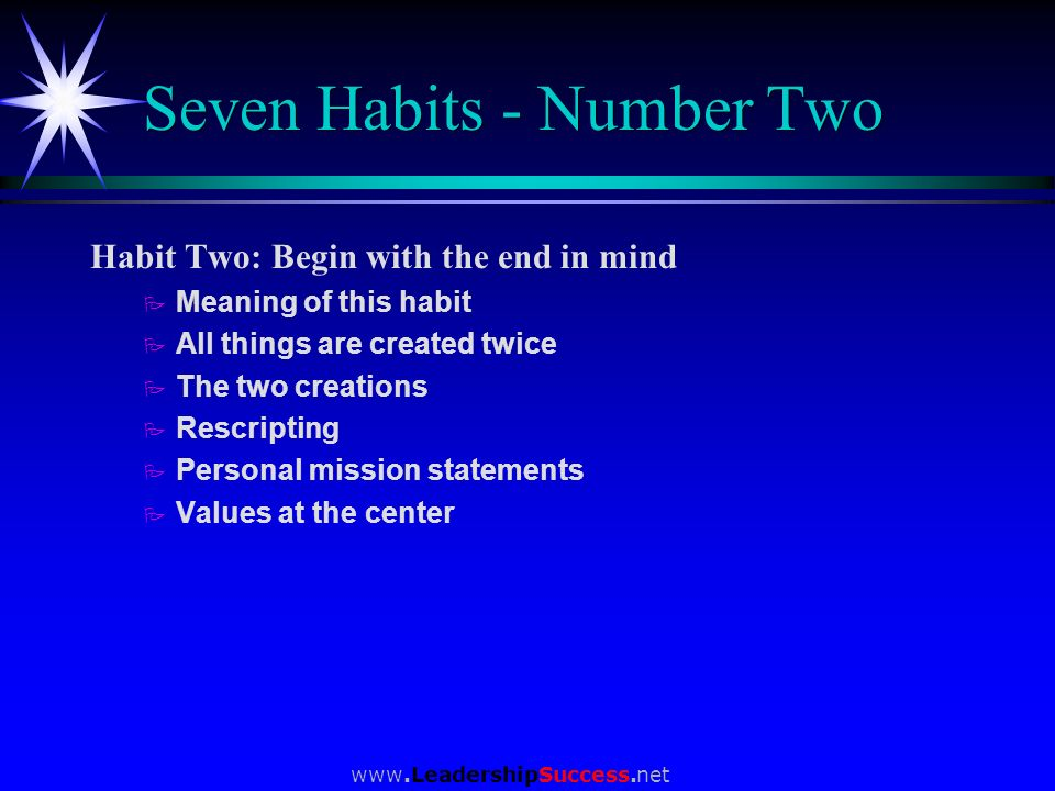 Seven Habits - Number Two