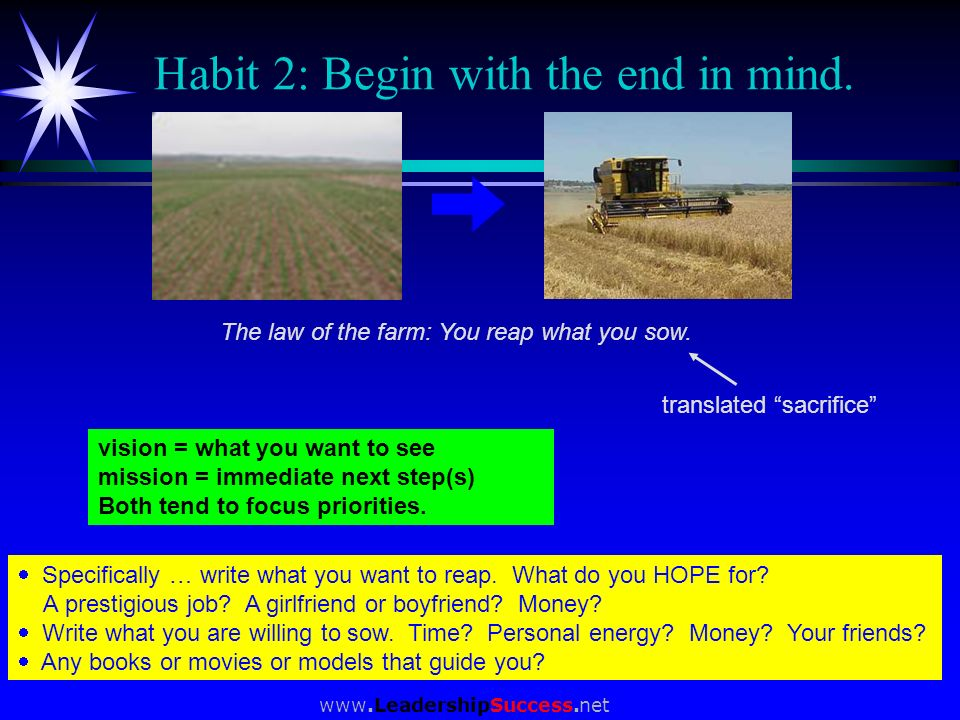 Habit 2: Begin with the end in mind.