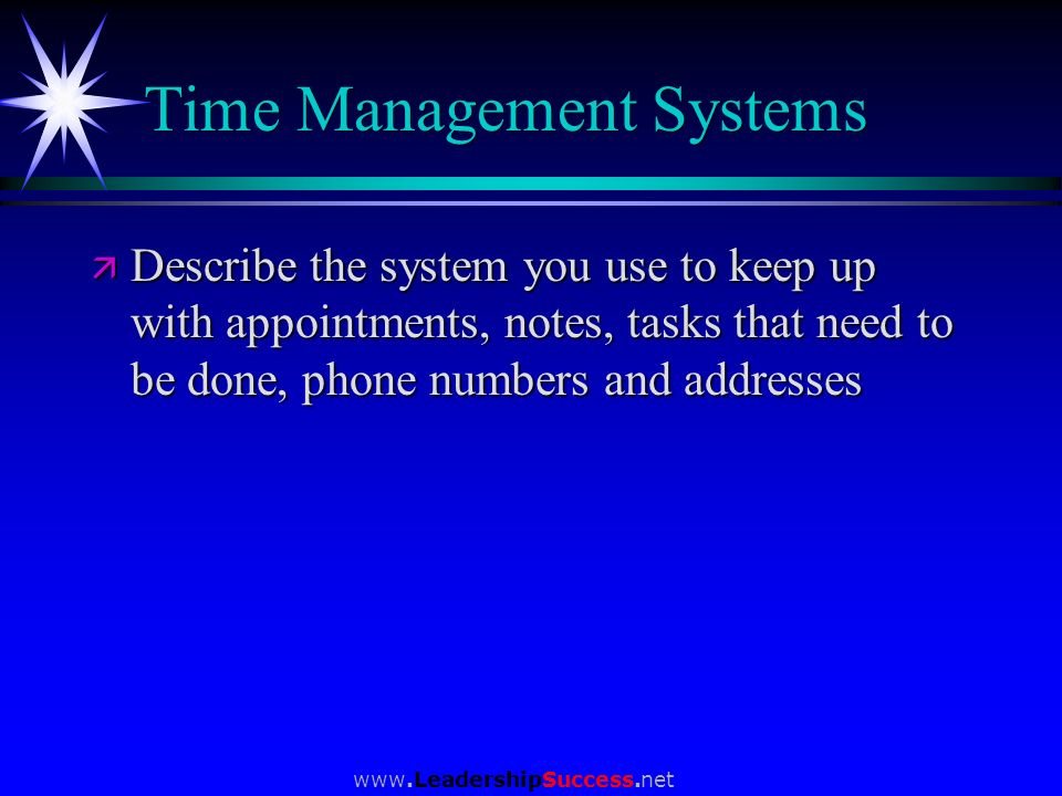 Time Management Systems