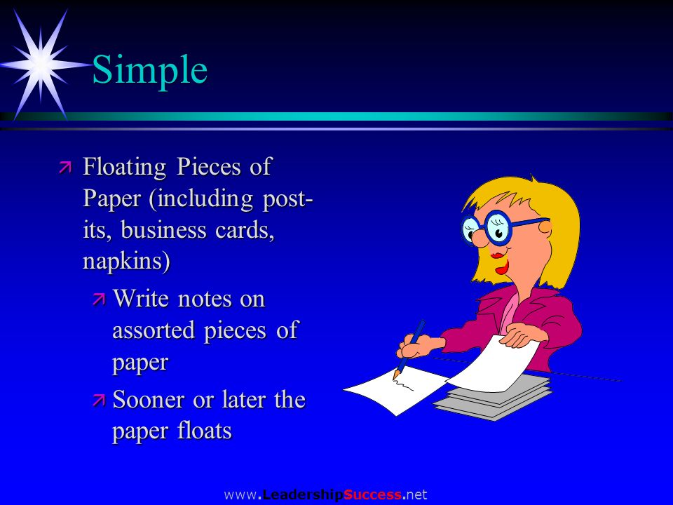Simple Floating Pieces of Paper (including post-its, business cards, napkins) Write notes on assorted pieces of paper.