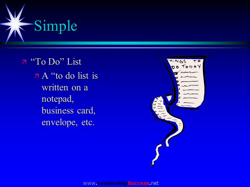Simple To Do List. A to do list is written on a notepad, business card, envelope, etc.