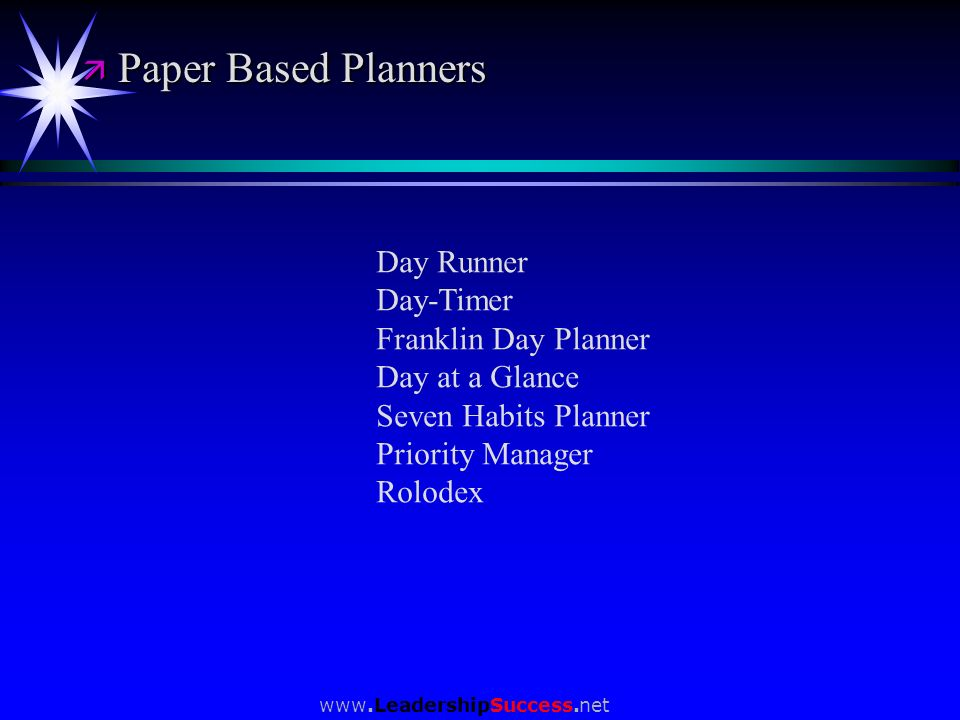 Paper Based Planners Day Runner Day-Timer Franklin Day Planner
