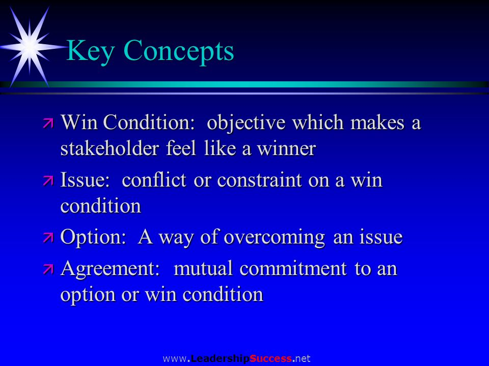 Key Concepts Win Condition: objective which makes a stakeholder feel like a winner. Issue: conflict or constraint on a win condition.
