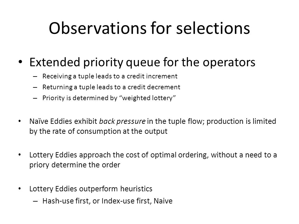 Observations for selections