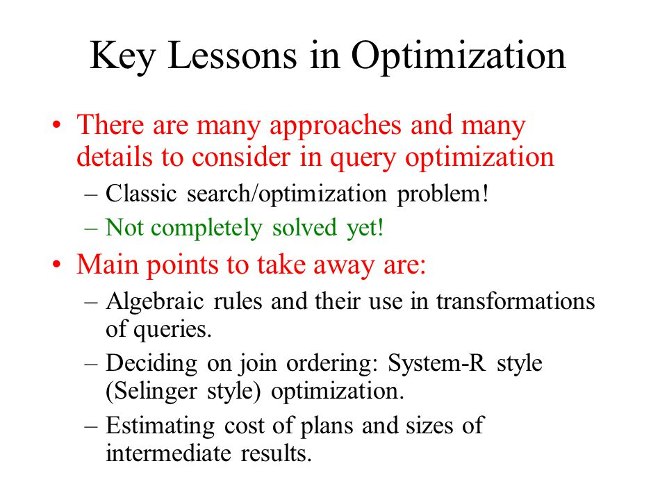 Key Lessons in Optimization