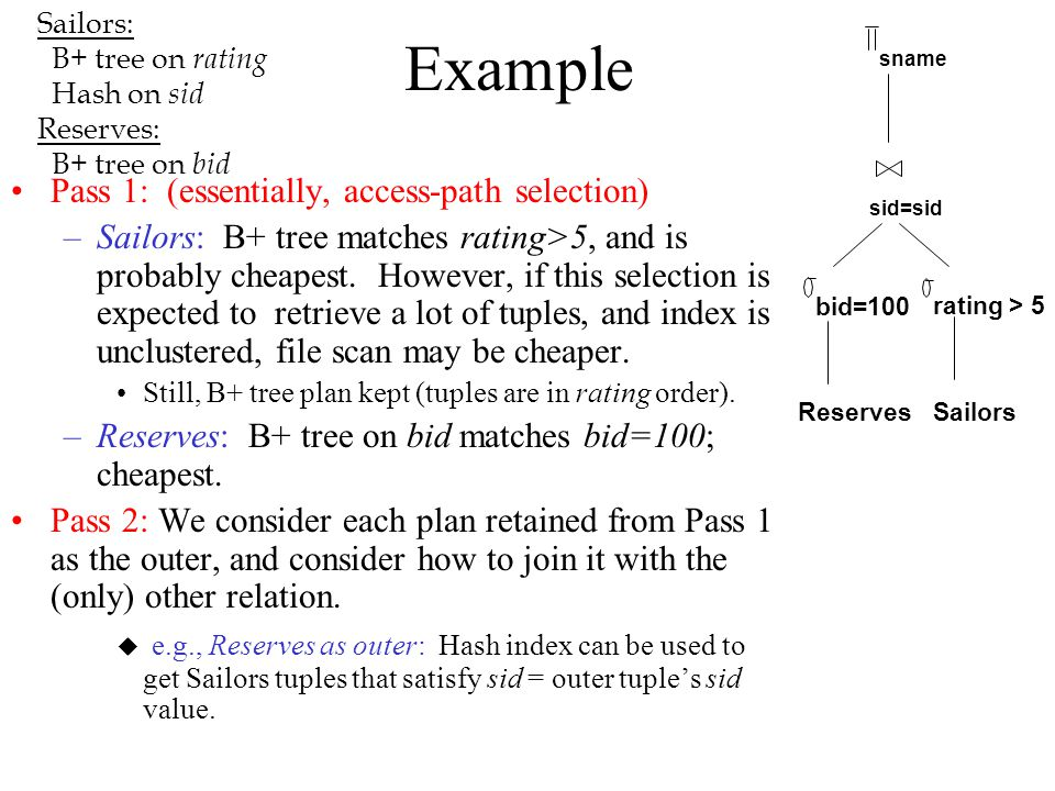 Example Pass 1: (essentially, access-path selection)