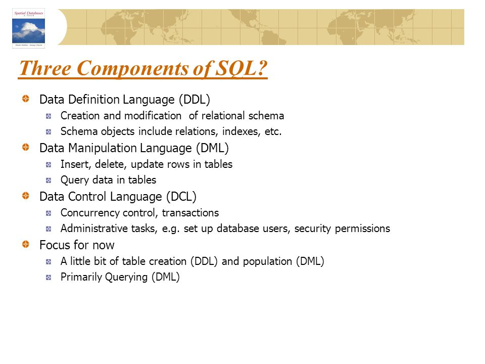 Three Components of SQL
