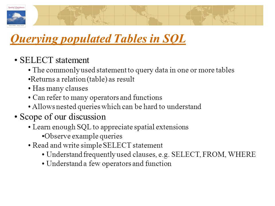 Querying populated Tables in SQL