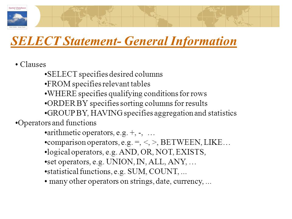 SELECT Statement- General Information