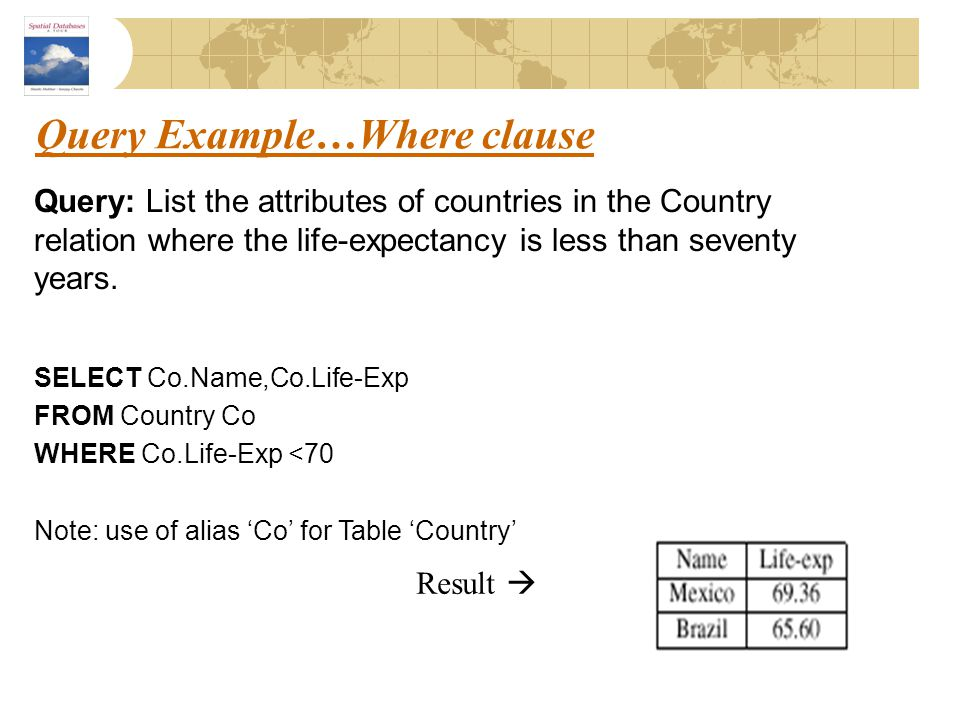 Query Example…Where clause