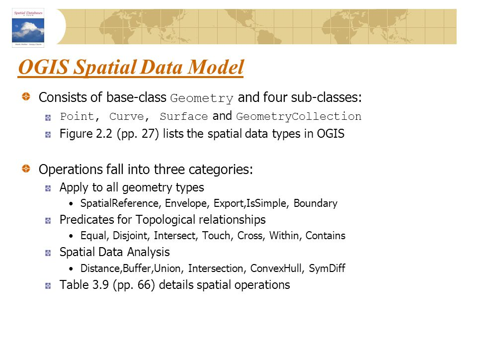 OGIS Spatial Data Model