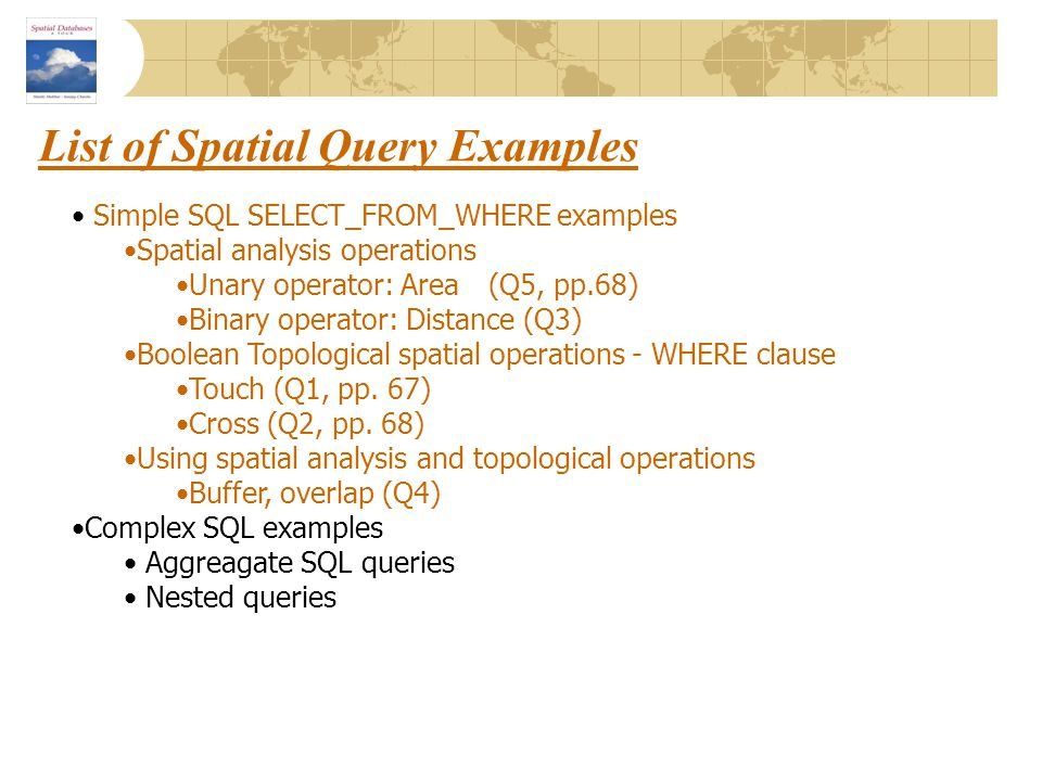 List of Spatial Query Examples