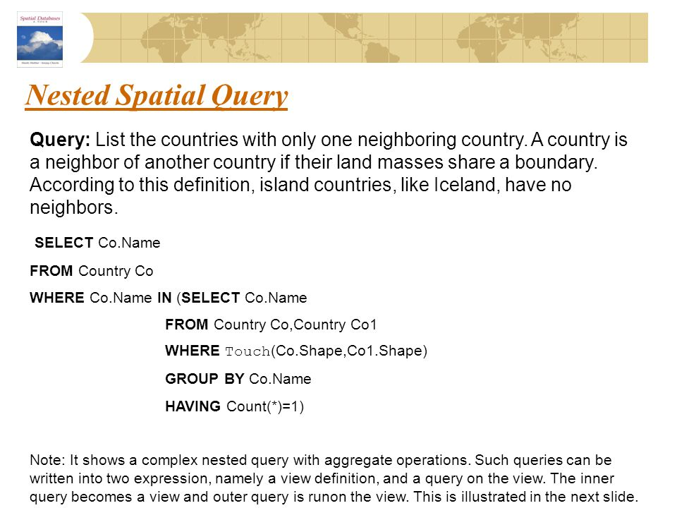 Nested Spatial Query