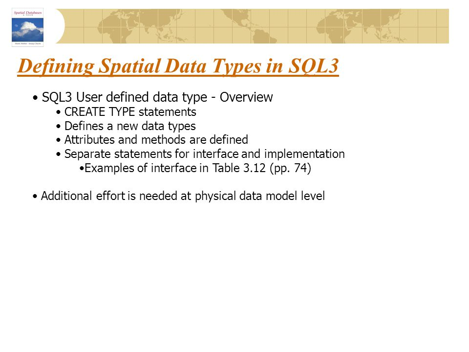 Defining Spatial Data Types in SQL3