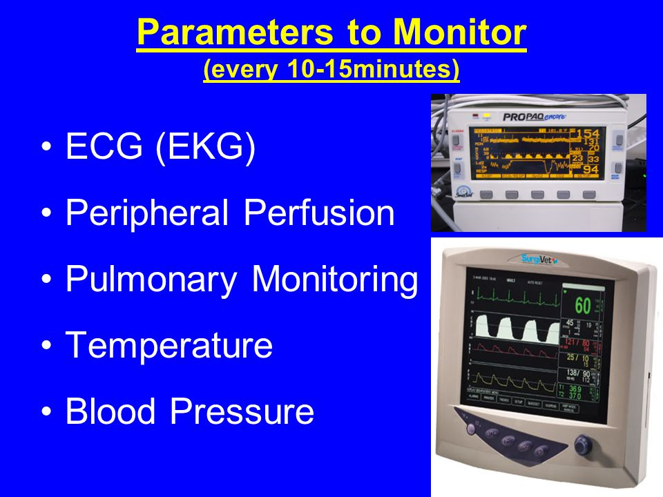 Parameters to Monitor (every 10-15minutes)