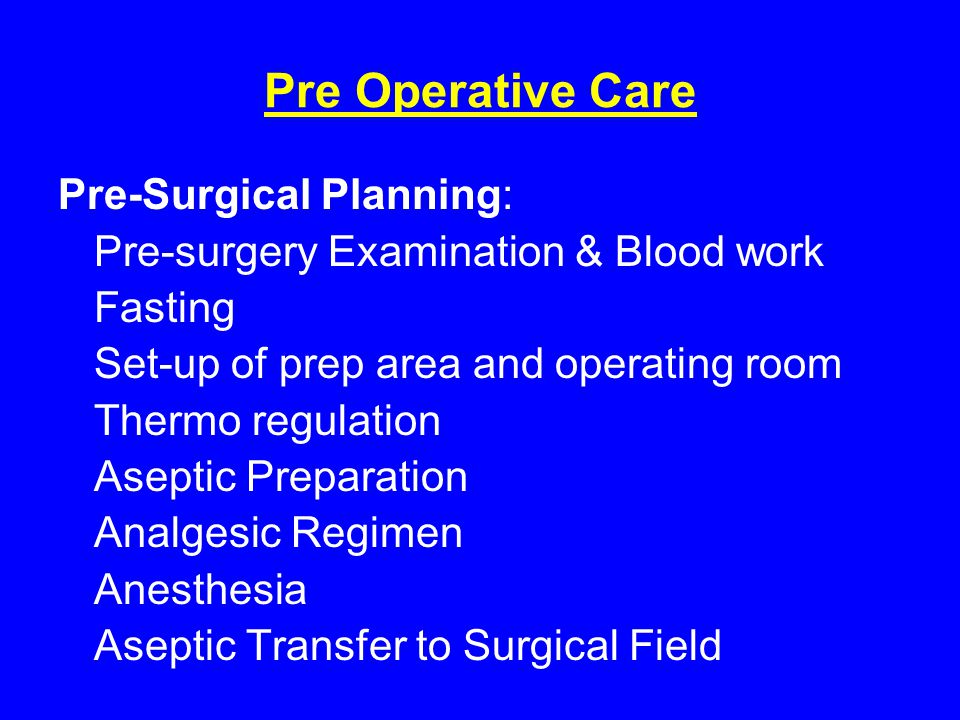 Pre Operative Care Pre-Surgical Planning: