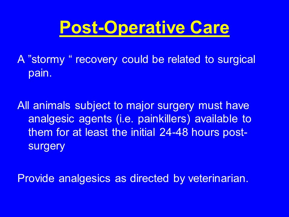 Post-Operative Care A stormy recovery could be related to surgical pain.