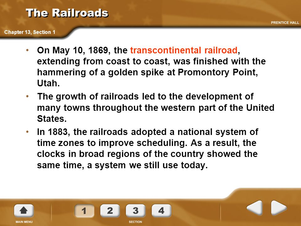 The Railroads Chapter 13, Section 1.
