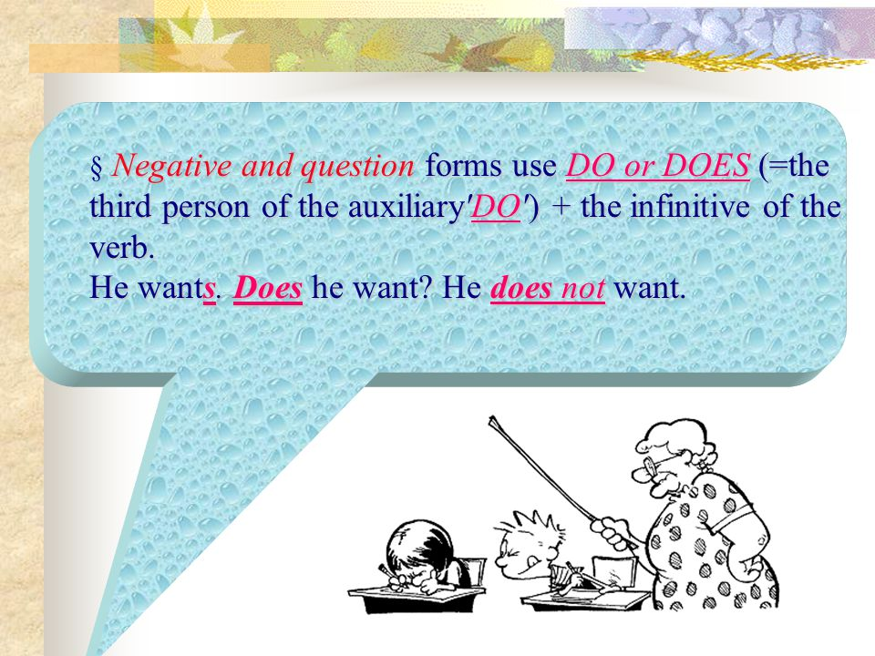 § Negative and question forms use DO or DOES (=the third person of the auxiliary DO ) + the infinitive of the verb.