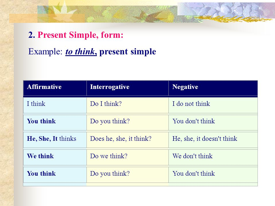Example: to think, present simple