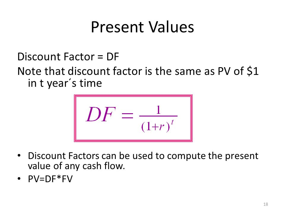 Present Values Discount Factor = DF