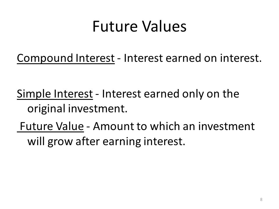 Future Values Compound Interest - Interest earned on interest.
