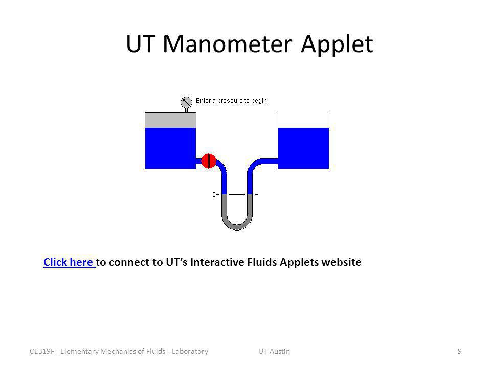 UT Manometer Applet Click here to connect to UT's Interactive Fluids Applets website. CE319F - Elementary Mechanics of Fluids - Laboratory.