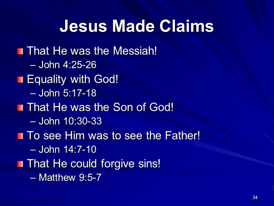 Jesus Made Claims That He was the Messiah! Equality with God!