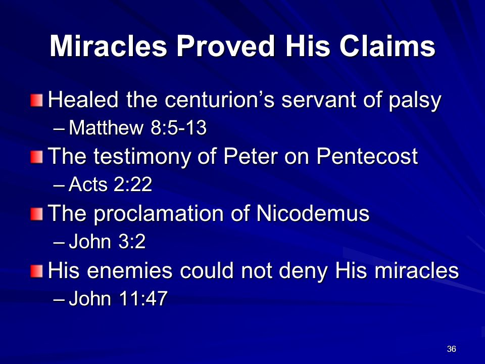 Miracles Proved His Claims