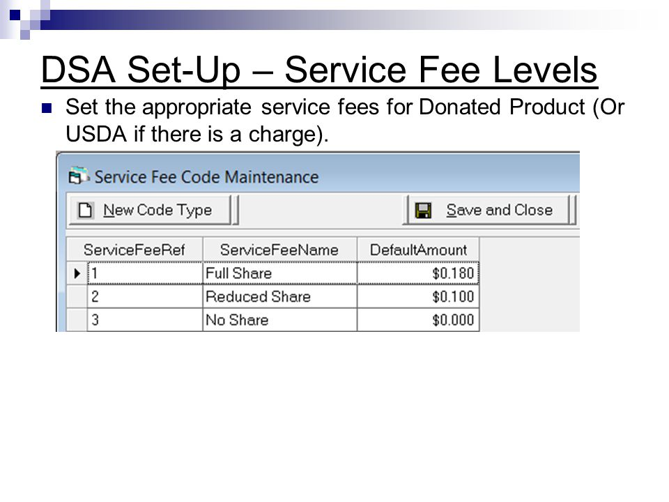 DSA Set-Up – Service Fee Levels