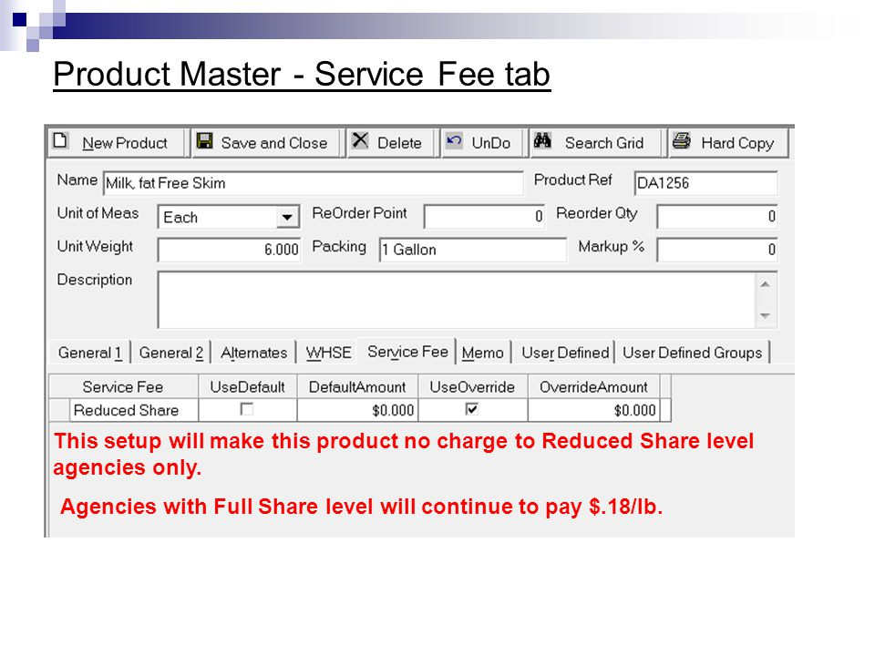 Product Master - Service Fee tab
