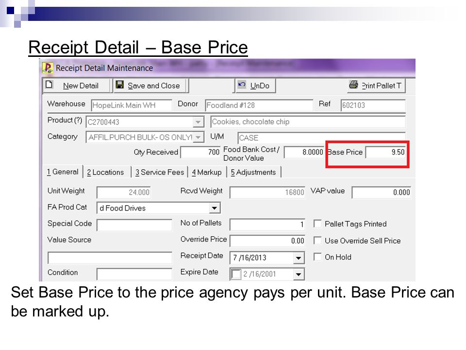 Receipt Detail – Base Price